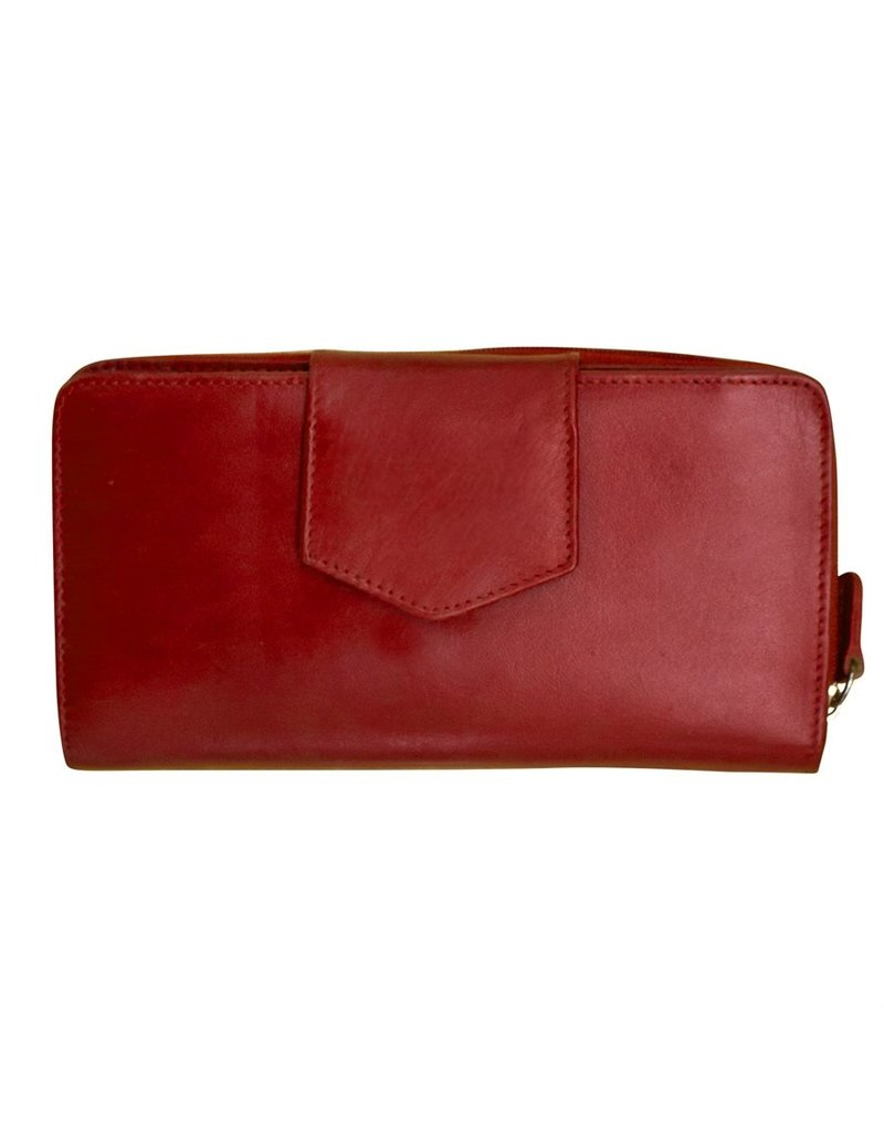 Leather Handbags and Accessories 7410 Wallet w Checkbook Red