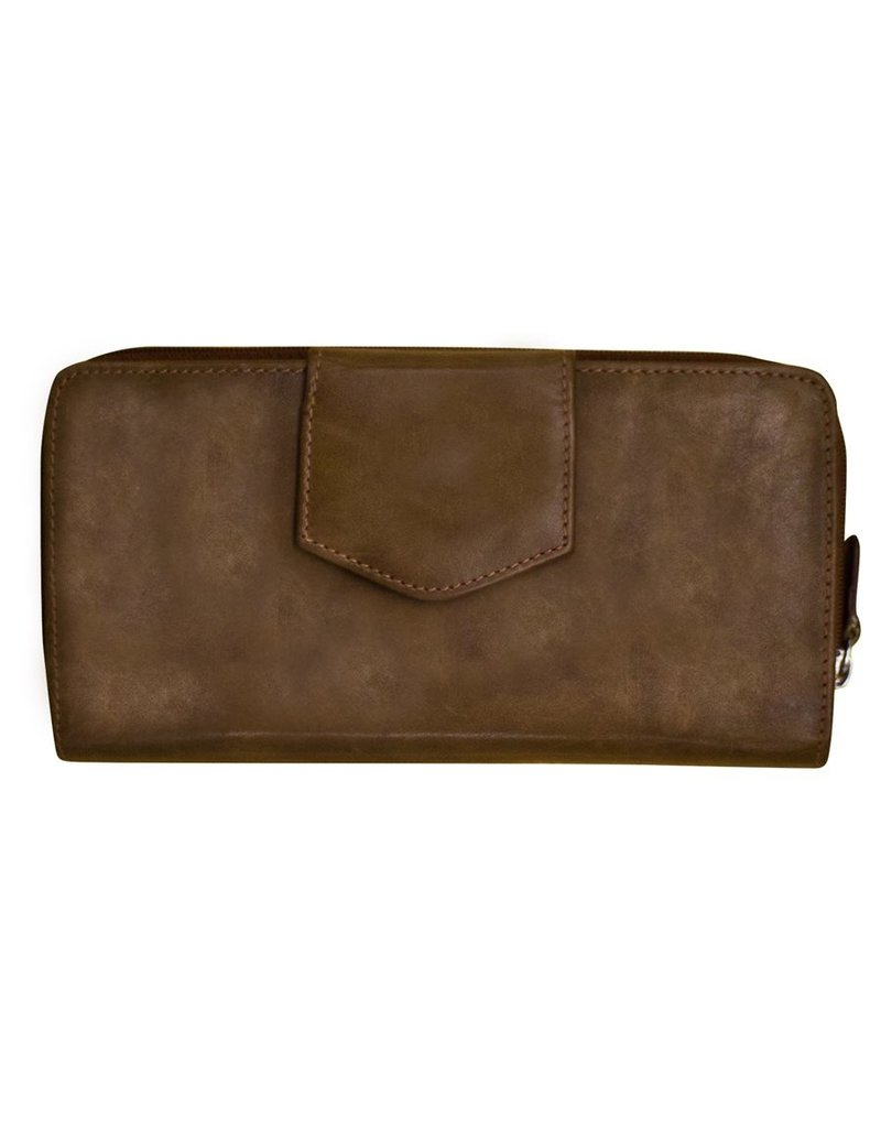 Leather Handbags and Accessories 7410 Wallet w Checkbook Toffee