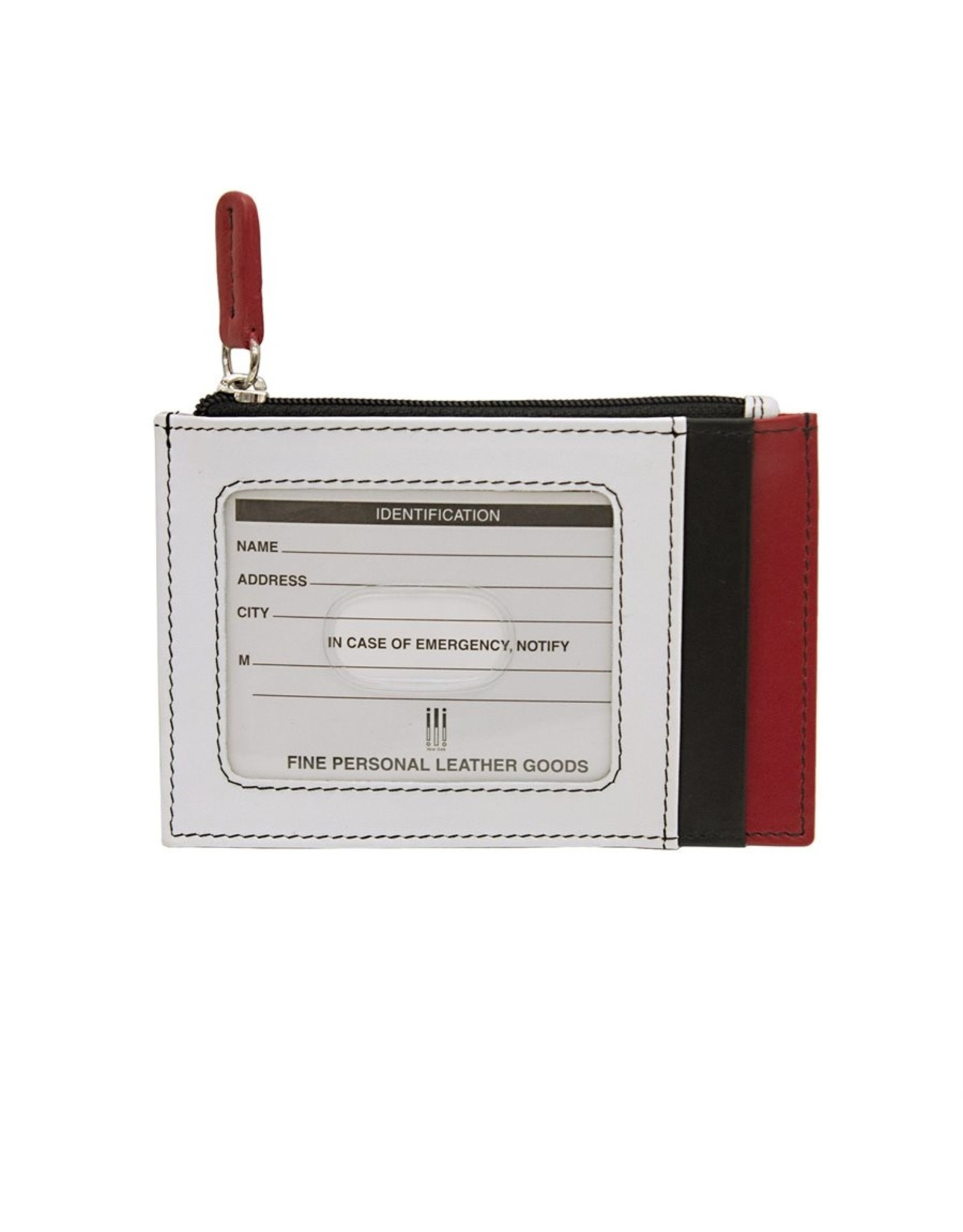 Leather Handbags and Accessories 7416 Black/White/Red - RFID Card Holder