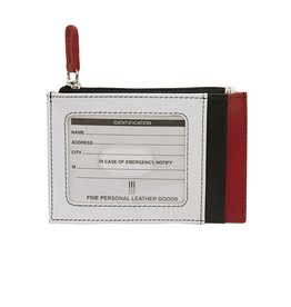Leather Handbags and Accessories 7416 Card Holder Black/White/Red