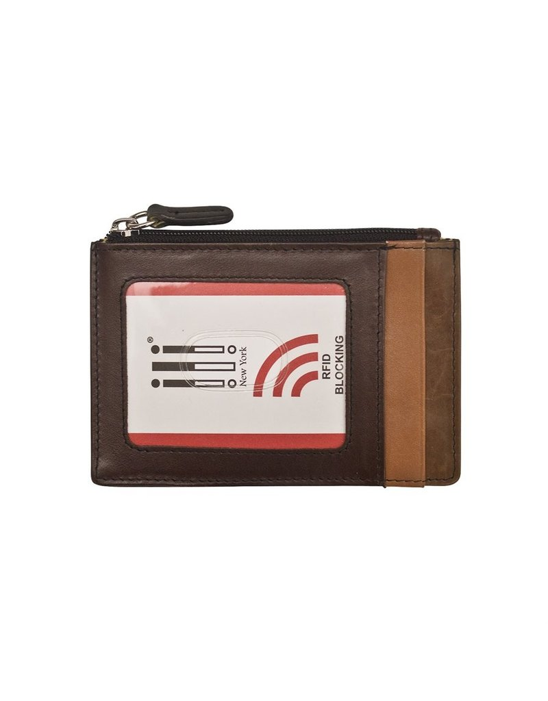 Leather Handbags and Accessories 7416 Card Holder Brown/Black