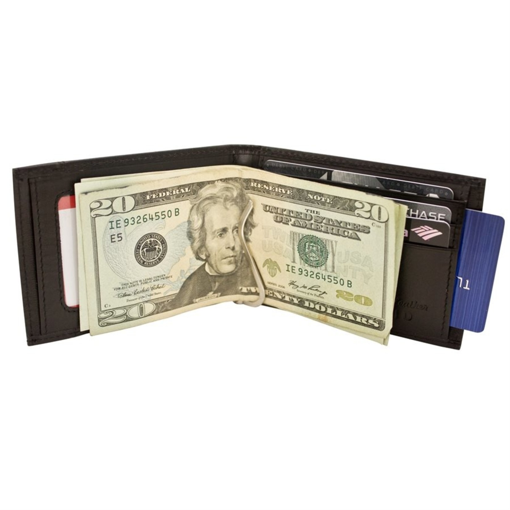 Leather Handbags and Accessories 7719 Black - RFID Money Clip Wallet