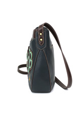 Chala Crescent Crossbody Teal Pawprint