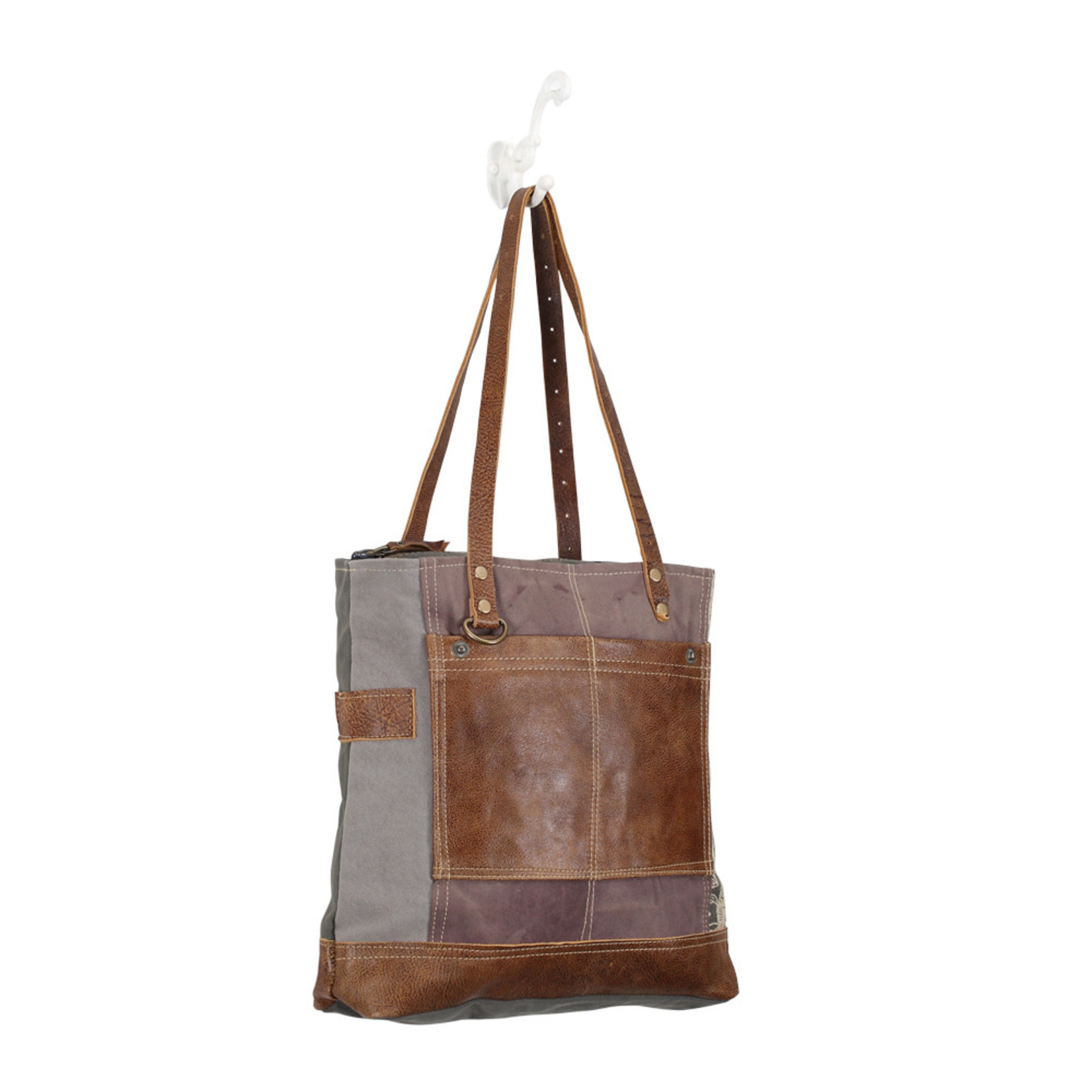 Myra Bags S-0915 Side Floral Print Canvas Tote Bag