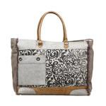 Myra Bags S-1199 Hide & Floral Print Weekender Bag