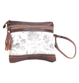 Myra Bags S-1613 Creamy Petal Pouch Wristlet