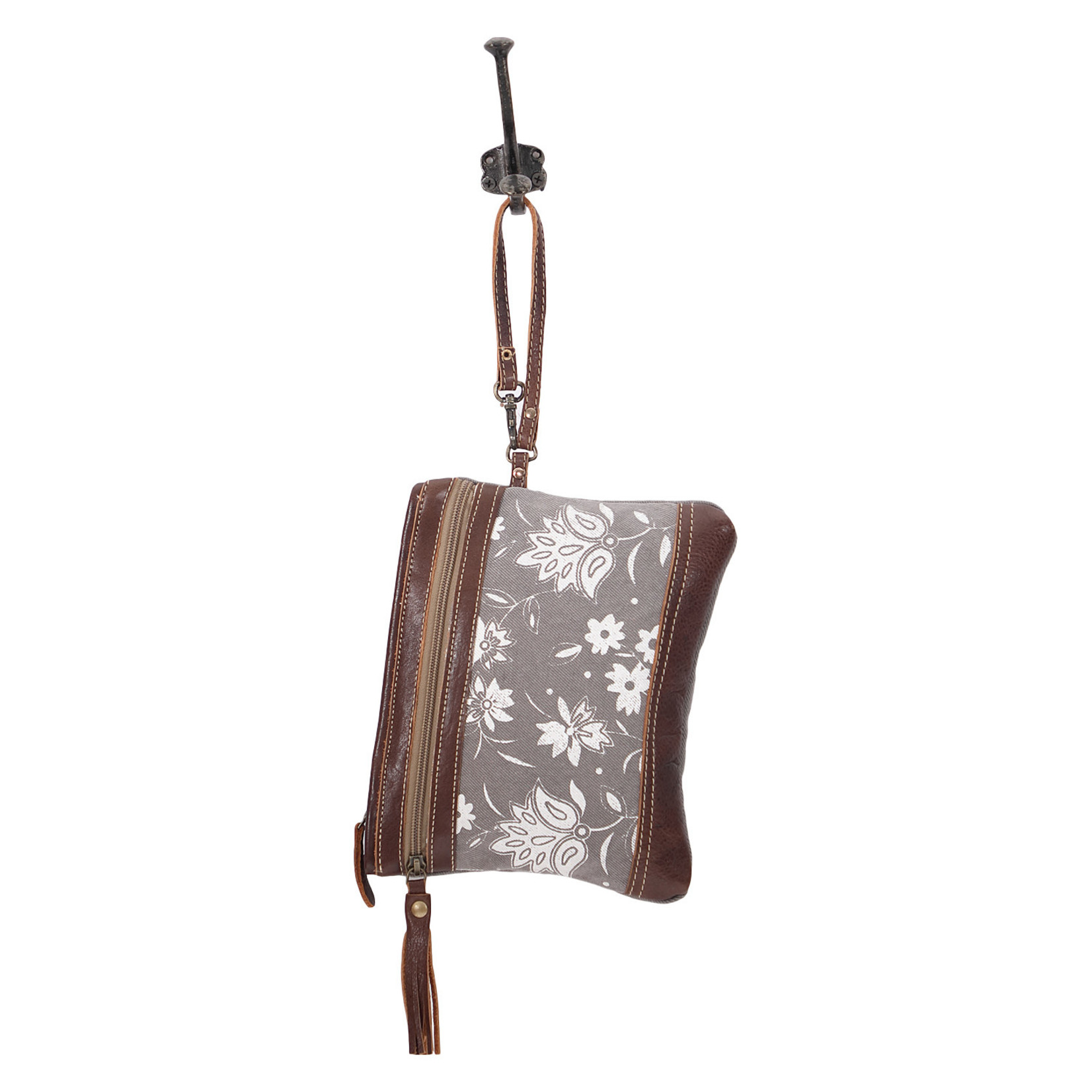 Myra Bags S-1616 Petals On Grey Wristlet / Pouch