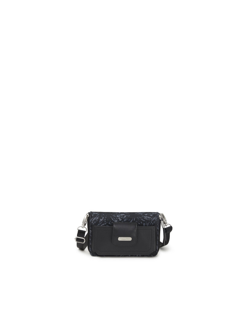 Baggallini RFID Phone Wallet Crossbody - Onyx Floral