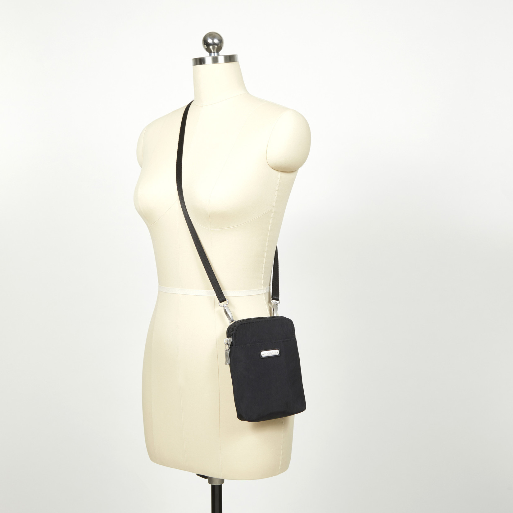 Baggallini Take Two RFID Bryant Crossbody - Black Cheetah Embossed