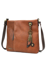 Chala Laser Cut Crossbody (Brown) Metal Feather