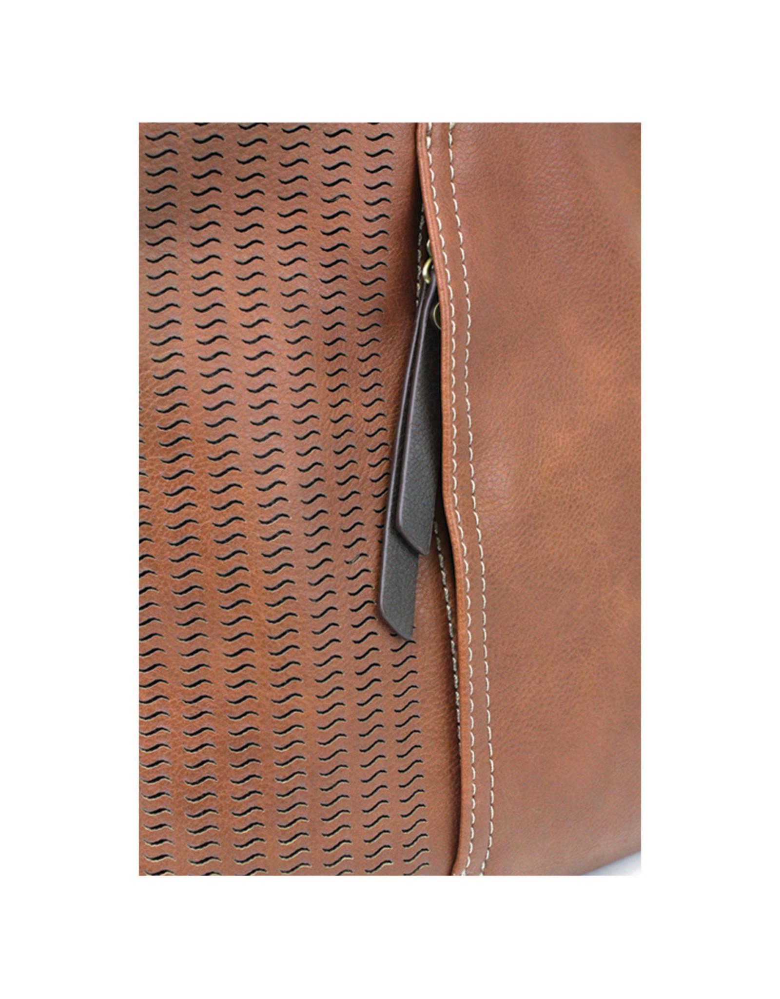 Chala Laser Cut Crossbody (Brown) Metal Feather
