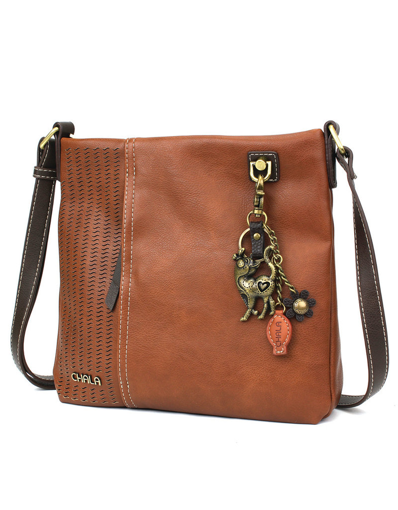 Chala Laser Cut Crossbody (Brown) Metal Slim Cat
