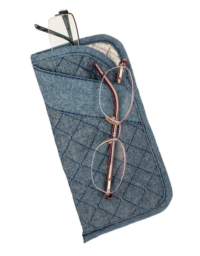Stephanie Dawn Double Eyeglass Case - Chambray Dots
