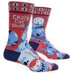 Blue Q Mens Crew Socks - Crazy Cat Dude