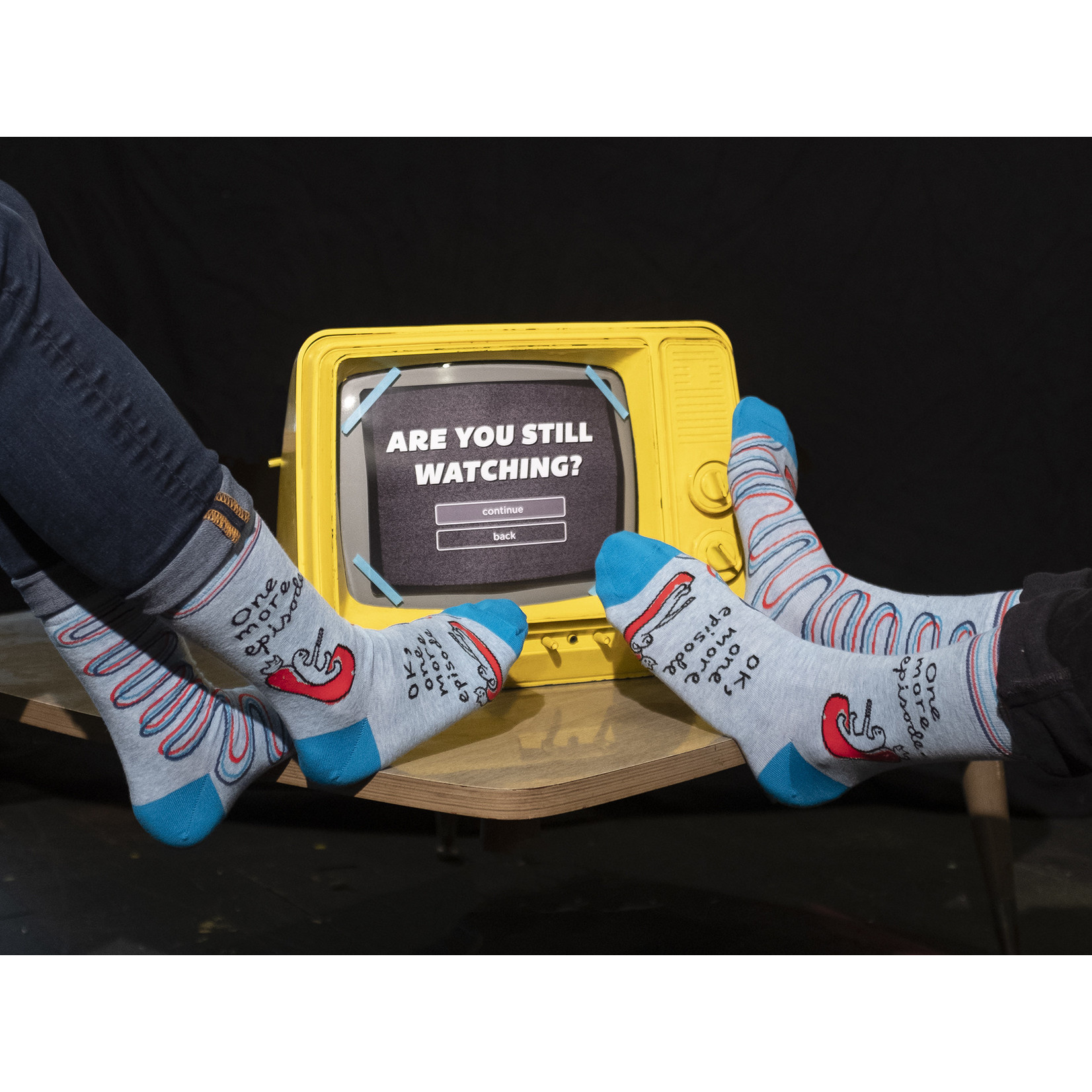 Blue Q Mens Crew Socks - One More Episode