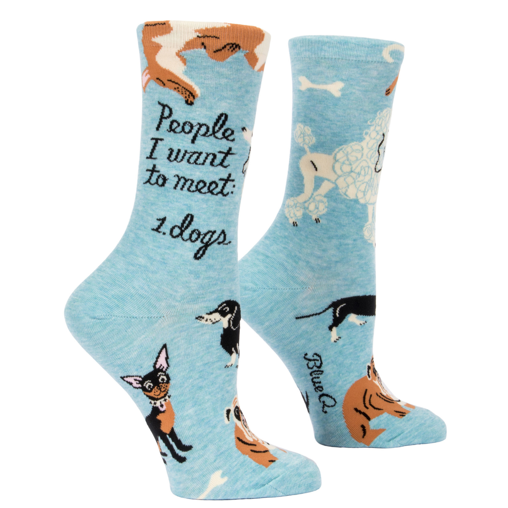 Blue Q Womens Crew Socks - People To Meet: Dogs