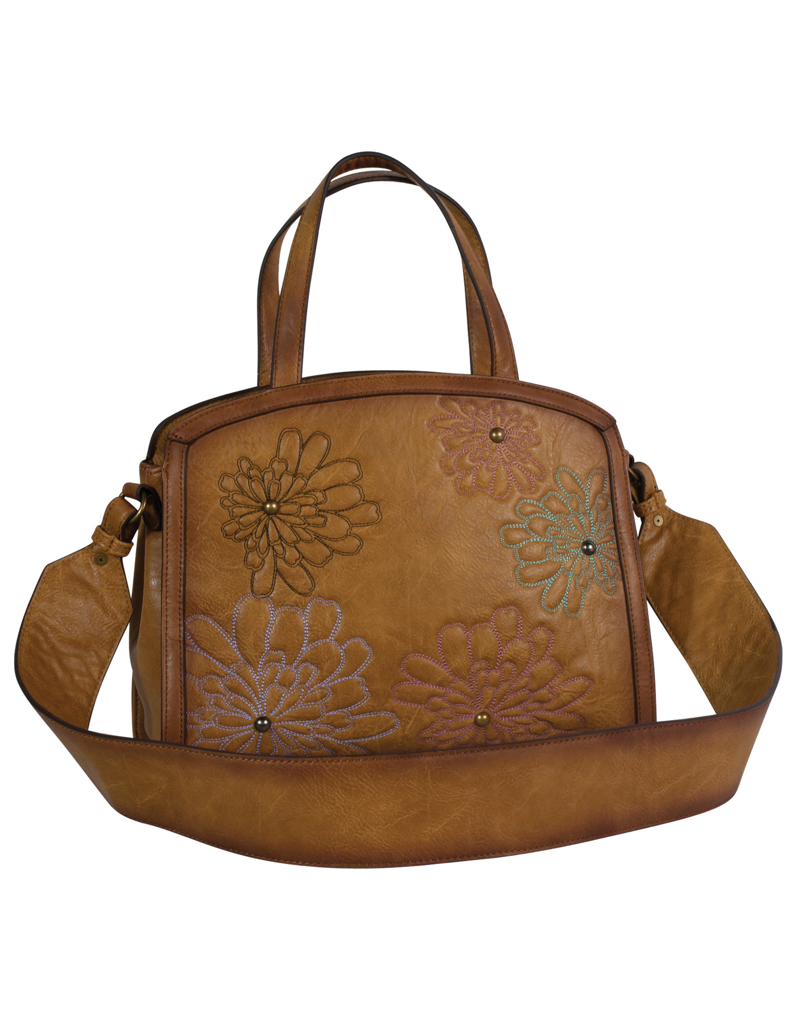 Catchfly 2010623 Catchfly Annie Small Tote - Flower Embroidery