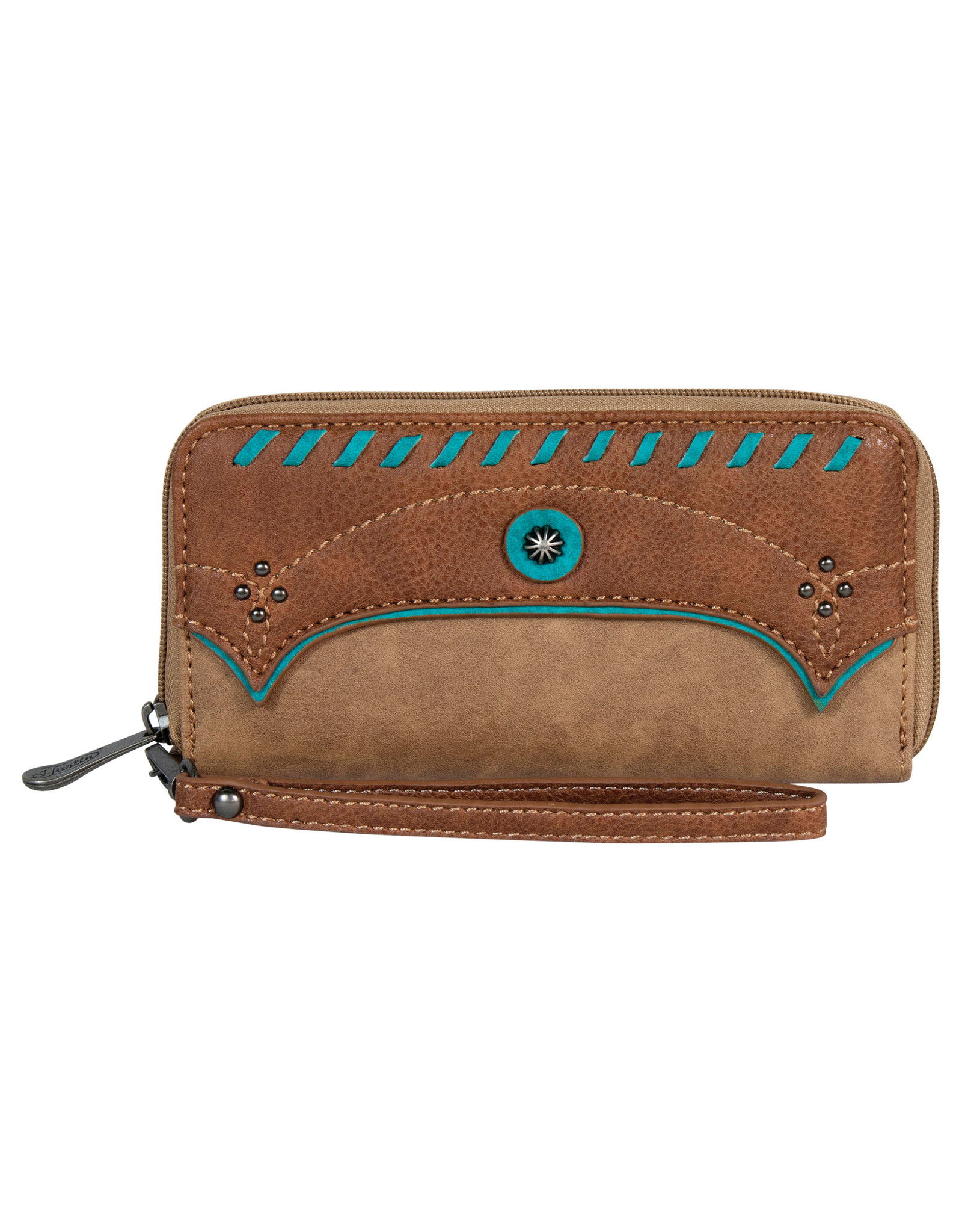 Justin 2057553W Justin Wallet - Open Faced Fawn with Turquoise