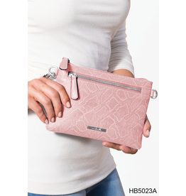 Noelle (Simply Noelle) HBN5023A Snakeskin Crossbody Wallet Warm - Blush