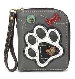 Chala Zip Around Wallet Black & White Paw Print