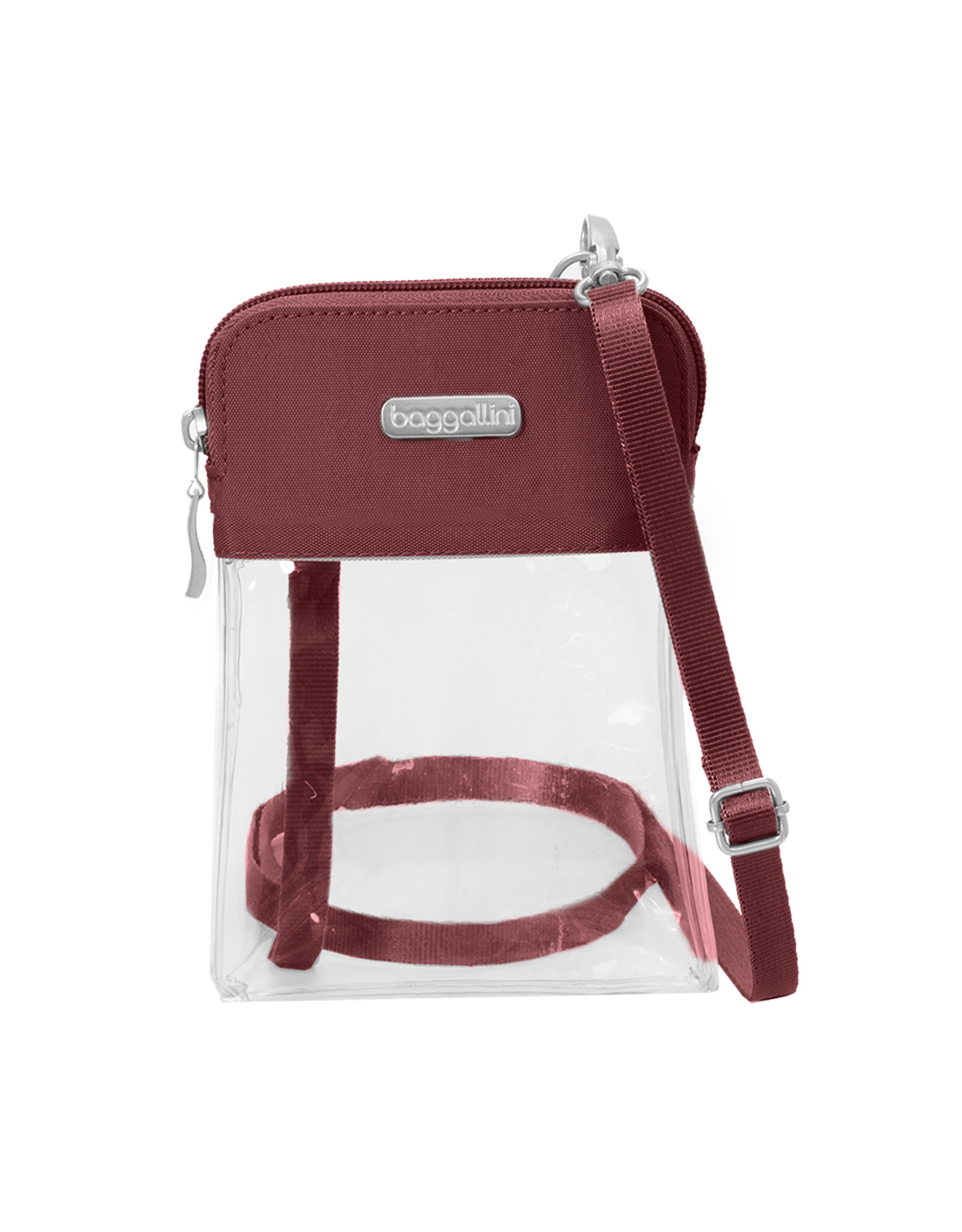 Baggallini Clear Event Compliant Bryant Crossbody - Deep Red