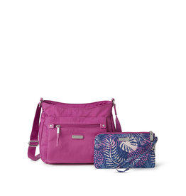 Baggallini Uptown Bagg with RFID Wristlet - Deep Fuchsia