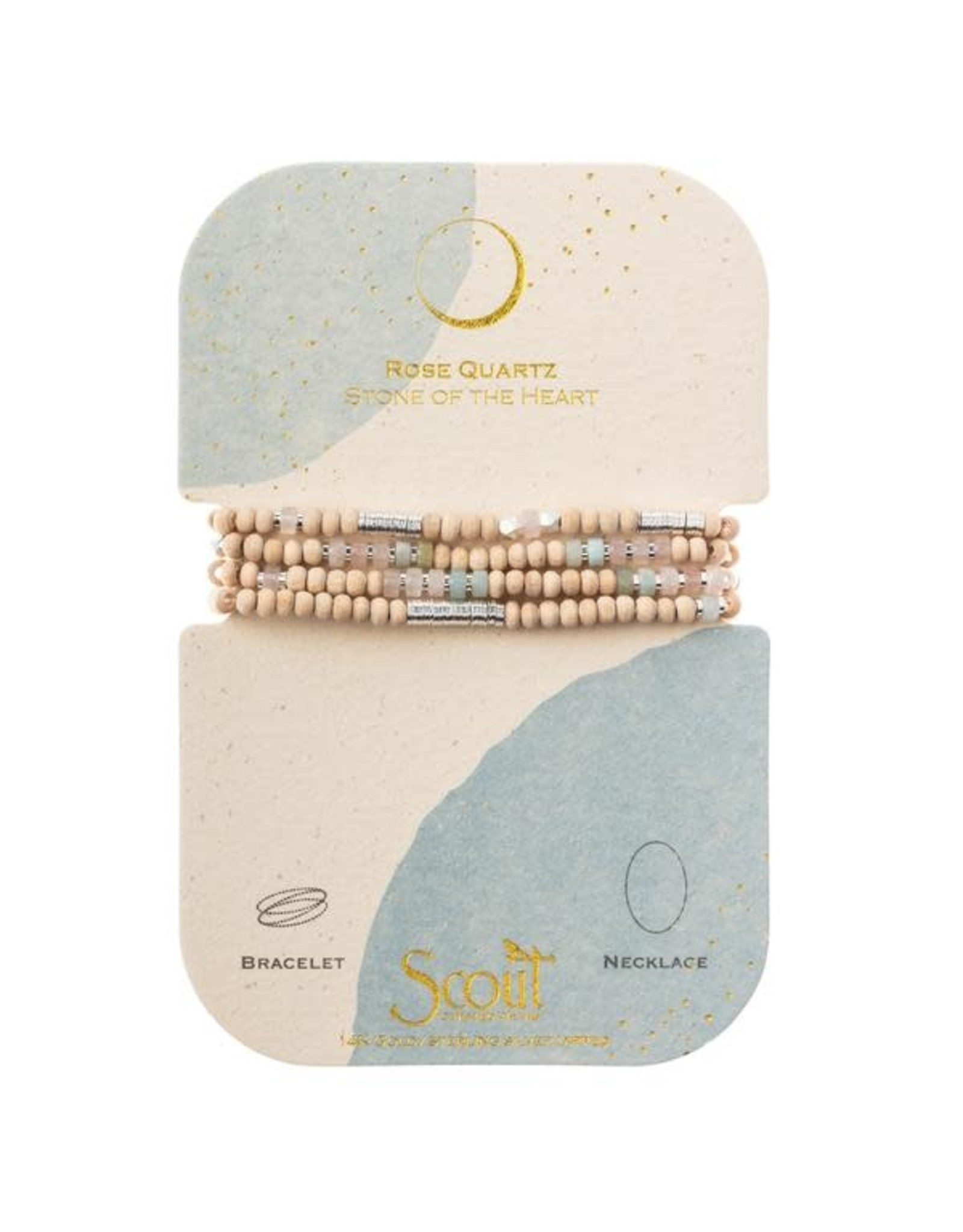Scout WB002 Wood, Stone & Metal Wrap - Rose Quartz/Silver