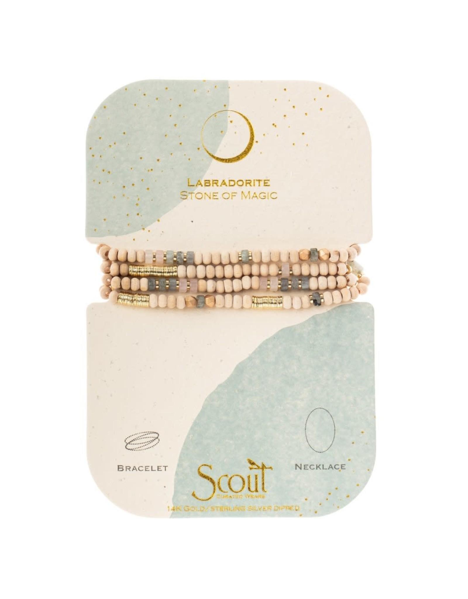 Scout WB005 Wood, Stone & Metal Wrap - Labradorite/Gold