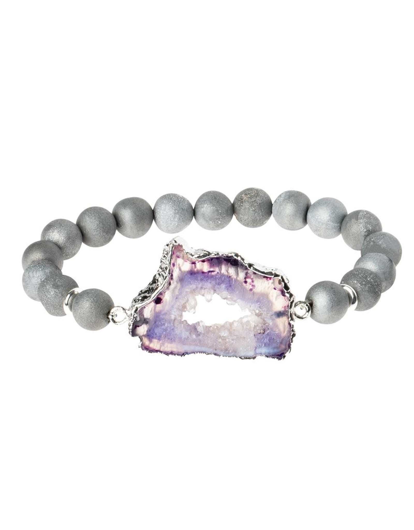 Scout SG006 Geode Stack Bracelet:  Gray/Plum/Silver