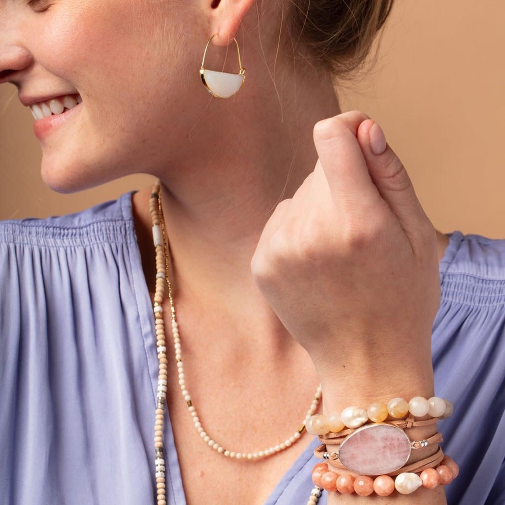 Scout PB001 Pearl & Gemstone Bracelet - Ivory Agate