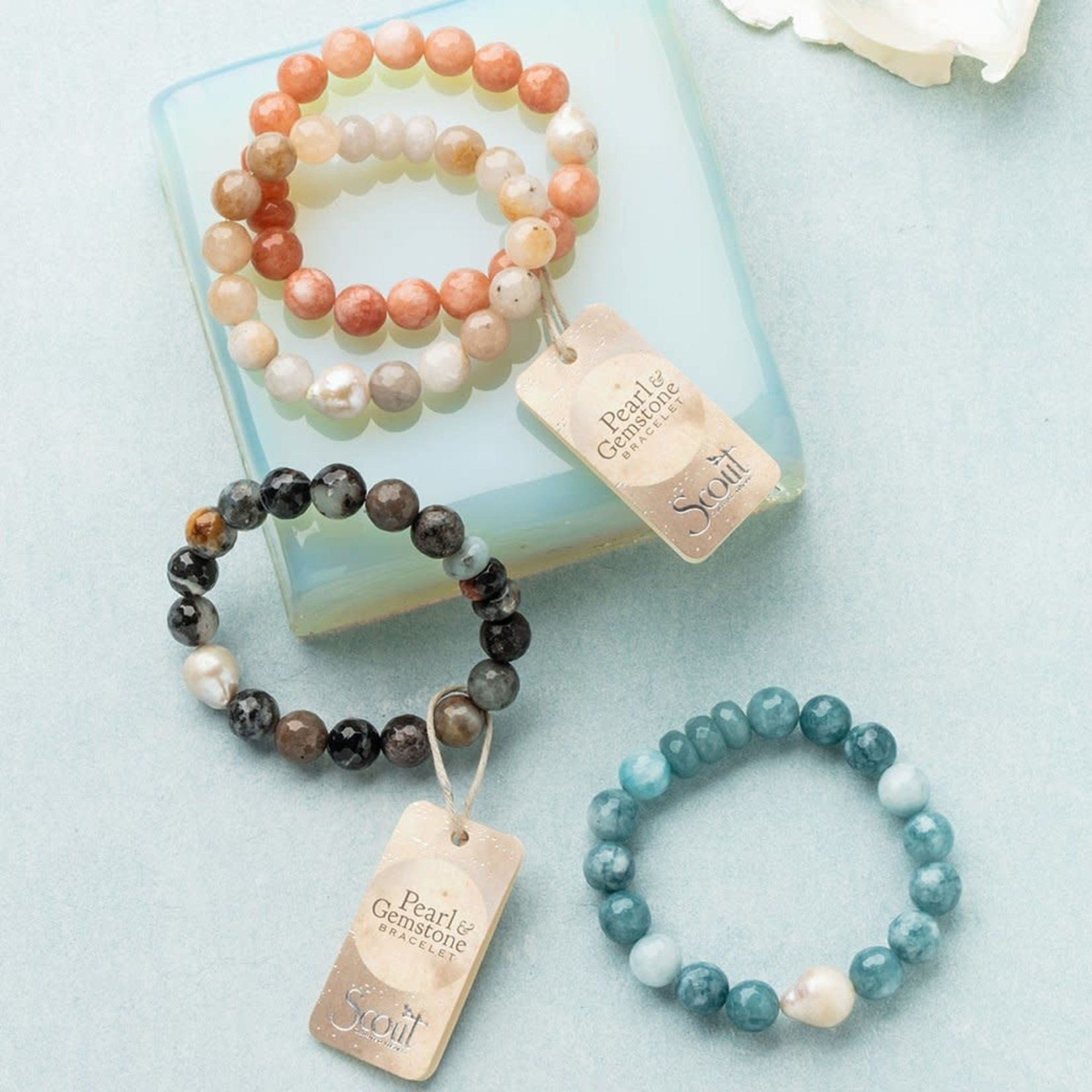 Scout PB003 Pearl & Gemstone Bracelet - Light Blue Agate
