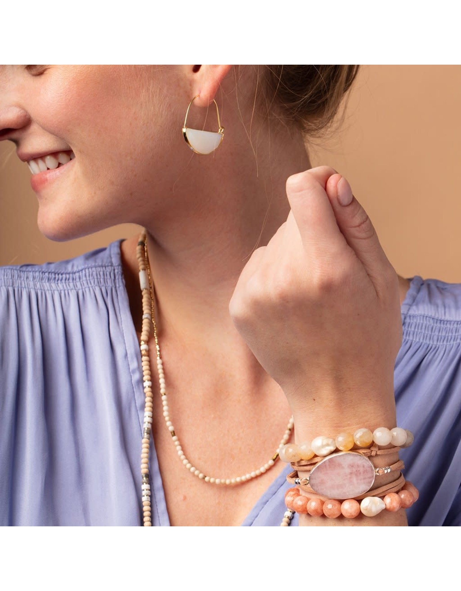 Scout PB002 Pearl & Gemstone Bracelet - Pink Agate