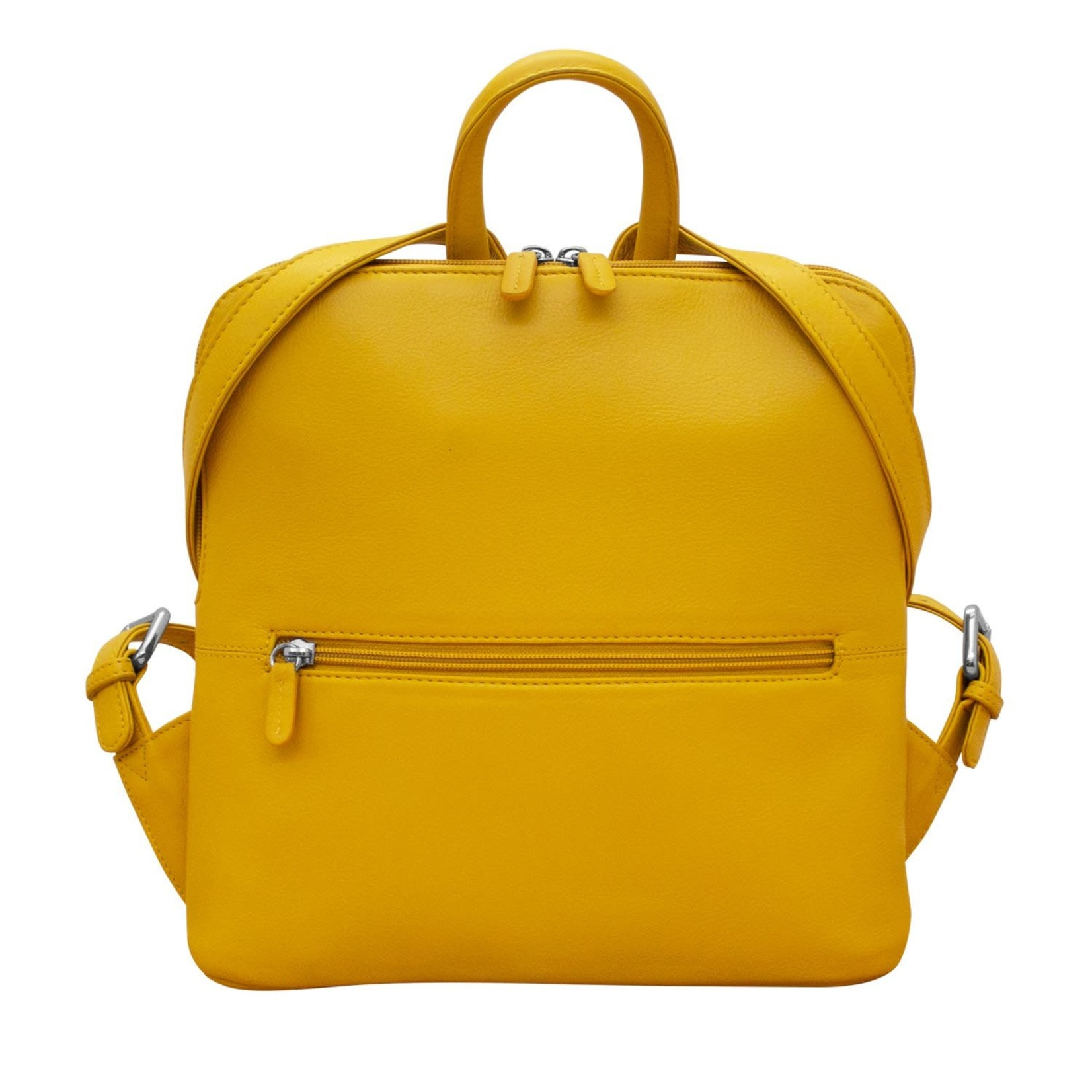 Leather Handbags and Accessories 6503 Yellow - Small Backpack