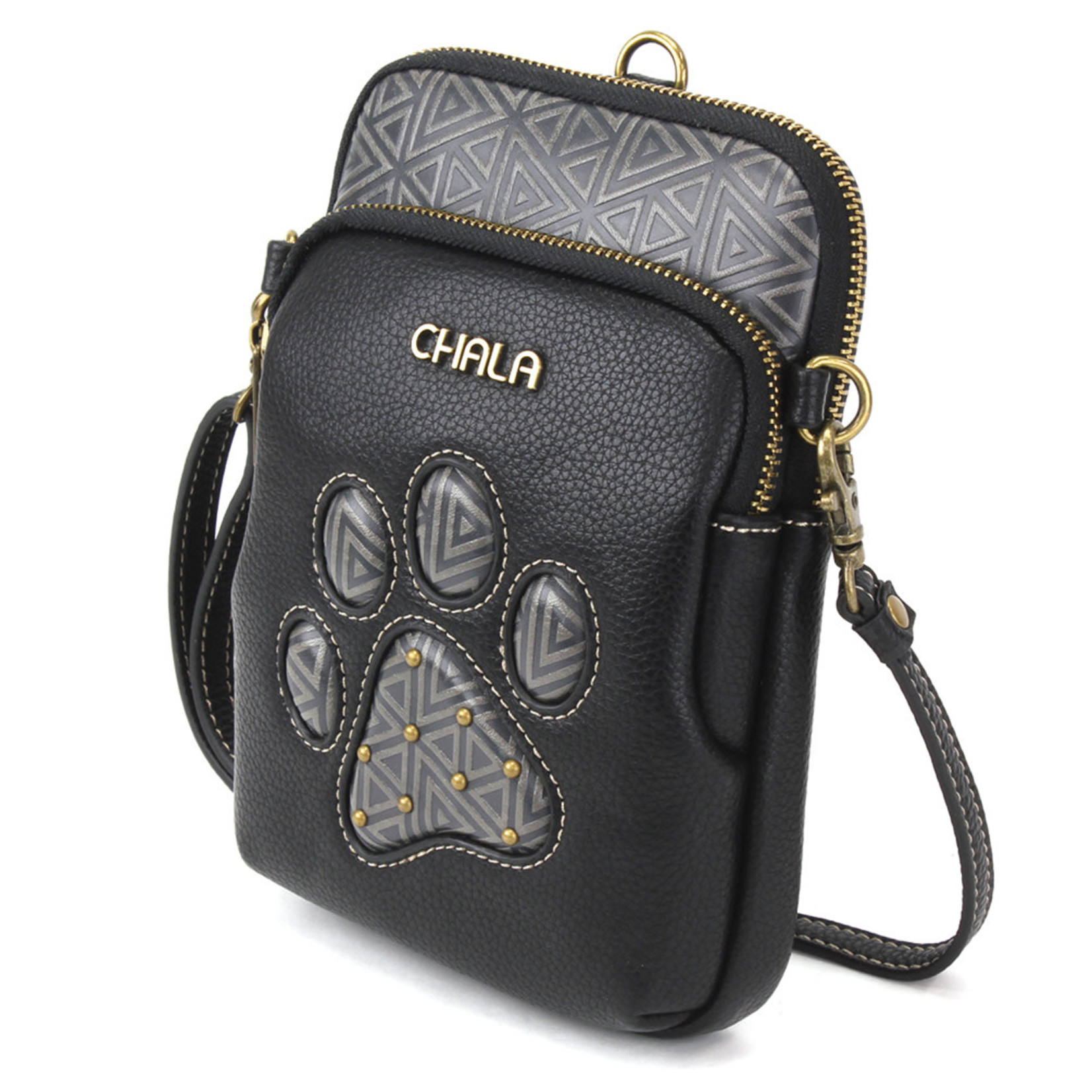 Chala Uni Cell Phone Crossbody - Paw Print - Black
