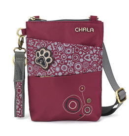 Chala Venture Evolution Cell Phone Crossbody - Paw Print - Burgundy