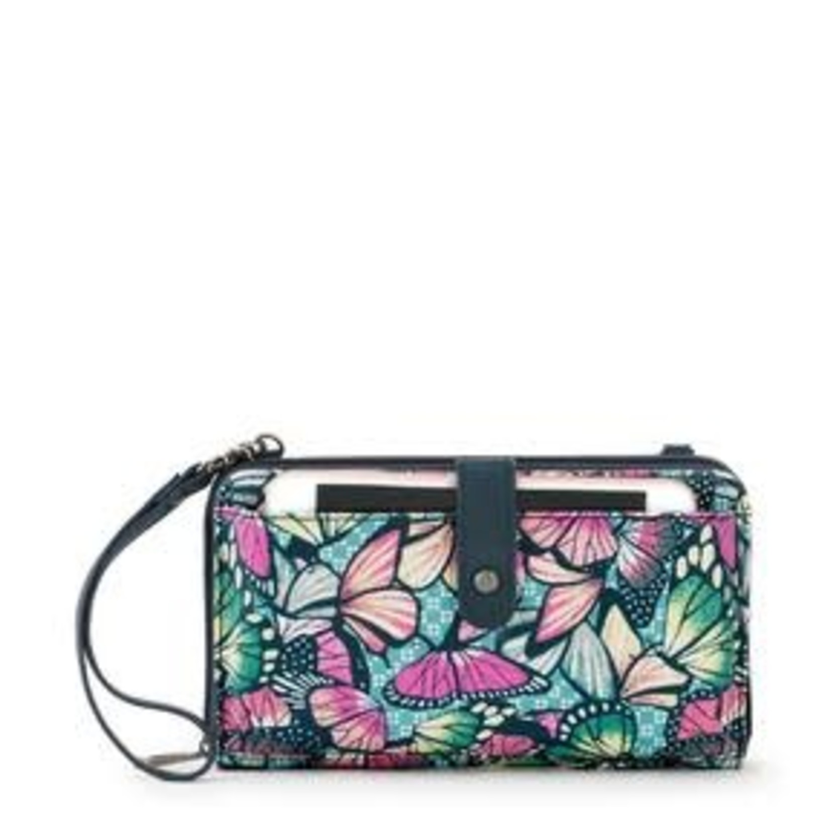 SakRoots Large Smartphone Crossbody - Orchid Butterfly Bloom