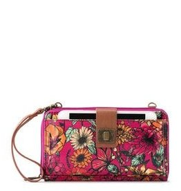 SakRoots Large Smartphone Crossbody - Raspberry in Bloom