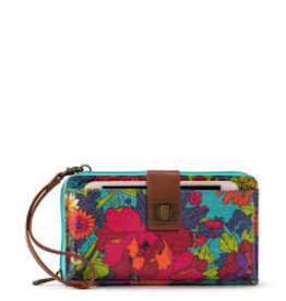 SakRoots Large Smartphone Crossbody - Aqua Flower Power
