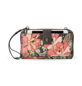 SakRoots Large Smartphone Crossbody - Charcoal Flower Power
