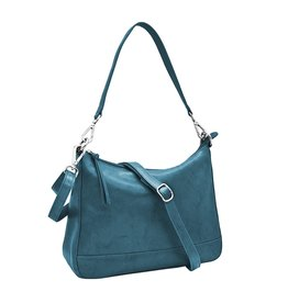 Leather Handbags and Accessories 6091 Jeans Blue - Zip Top Hobo