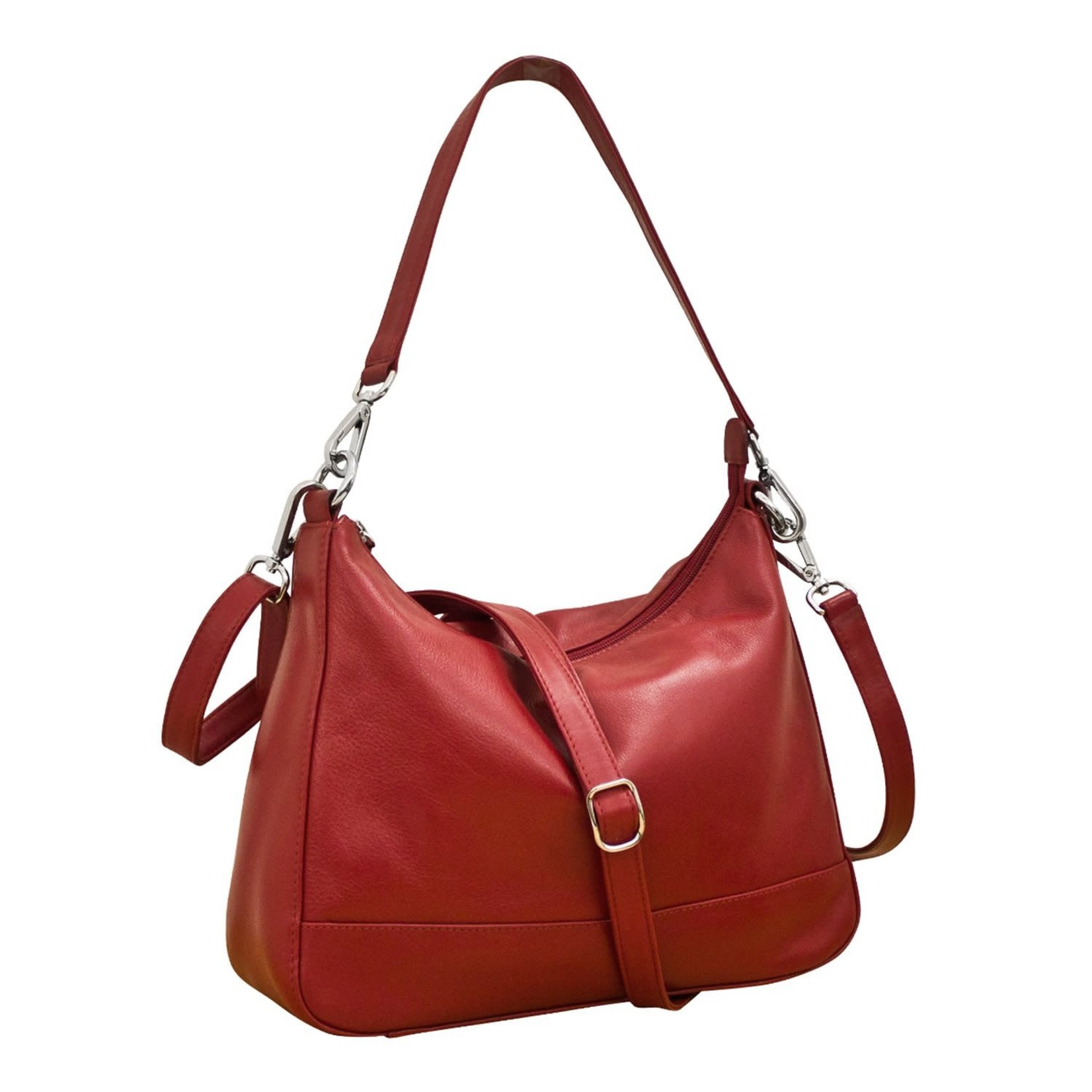 Leather Handbags and Accessories 6091 Red - Zip Top Hobo