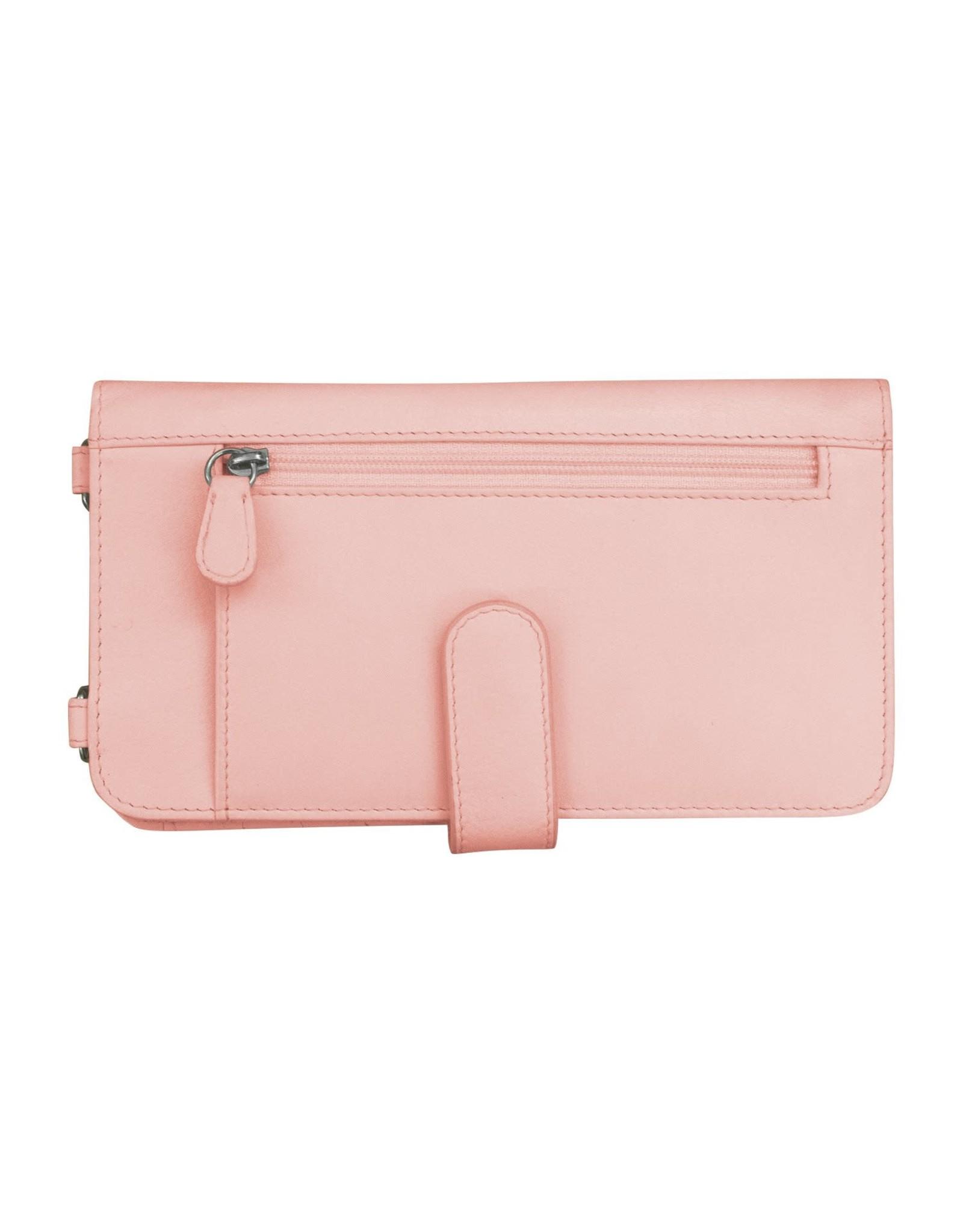 Leather Handbags and Accessories 6363 Pastel Pink - RFID Organizer Crossbody