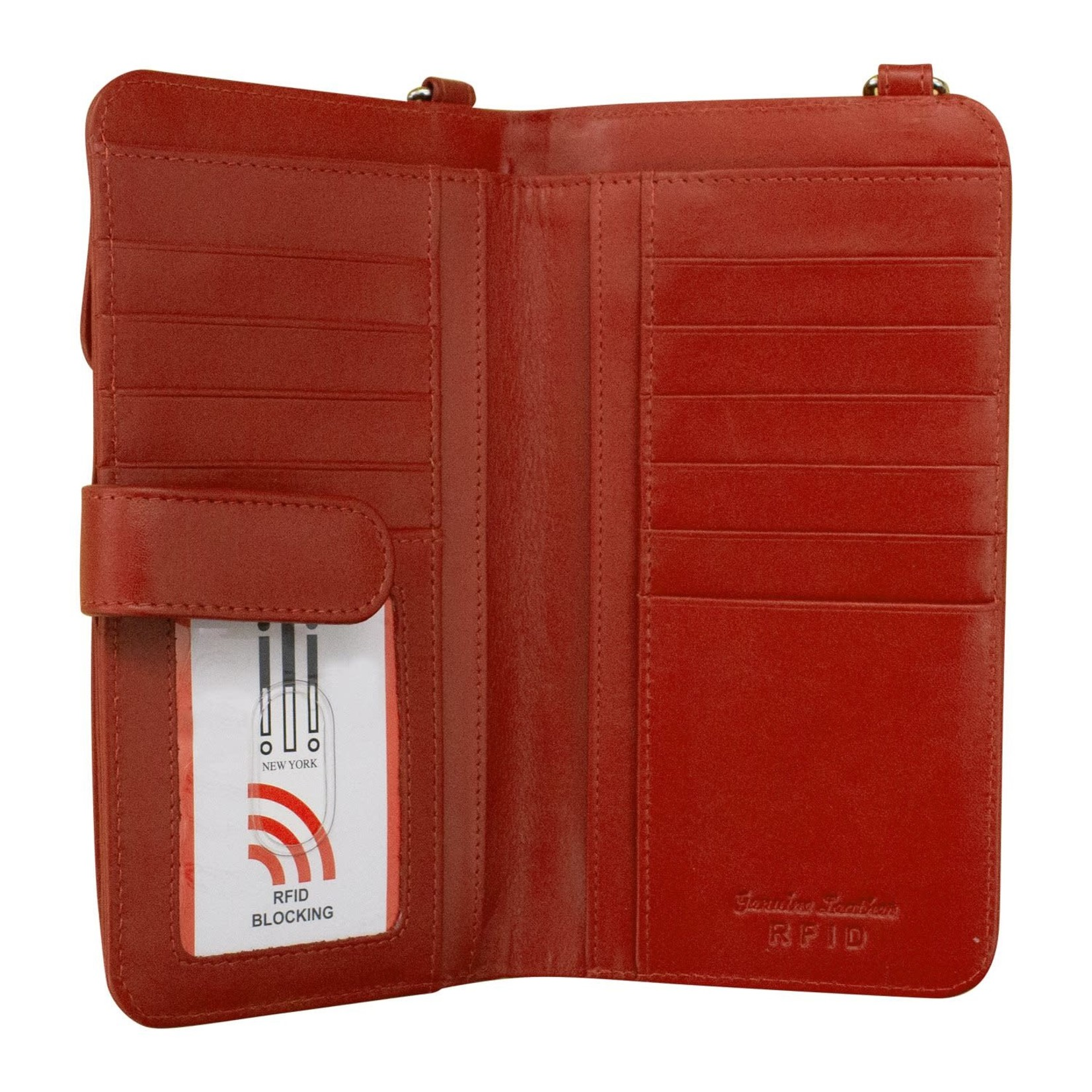Leather Handbags and Accessories 6363 Red -  RFID Organizer Crossbody