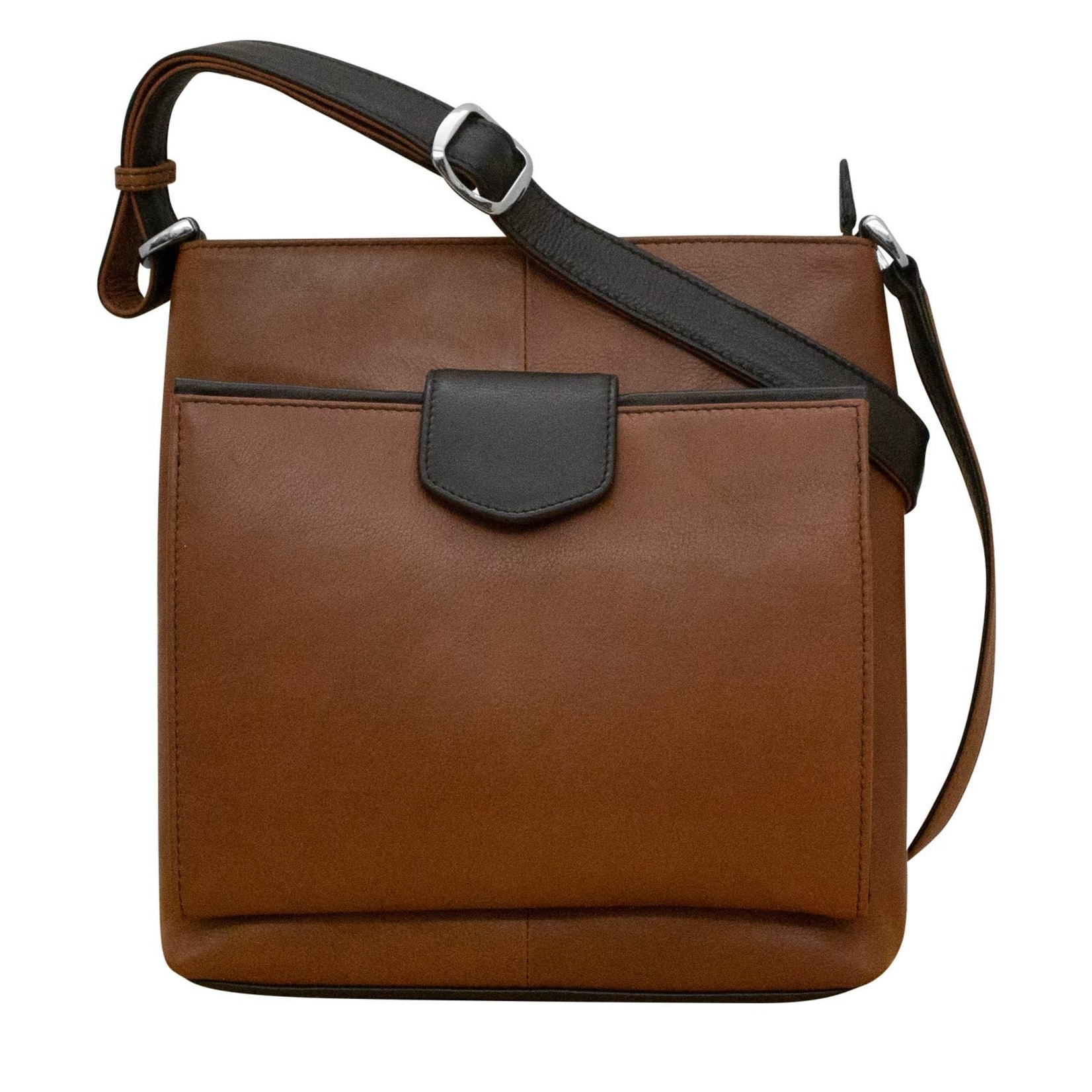 Leather Handbags and Accessories 6593 Toffee/Black - Organizer Crossbody