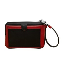 Leather Handbags and Accessories 6834 Black/Red - Double Zip Wristlet w/Touch Screen