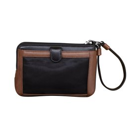 Leather Handbags and Accessories 6834 Black/Toffee - Double Zip Wristlet w/Touch Screen