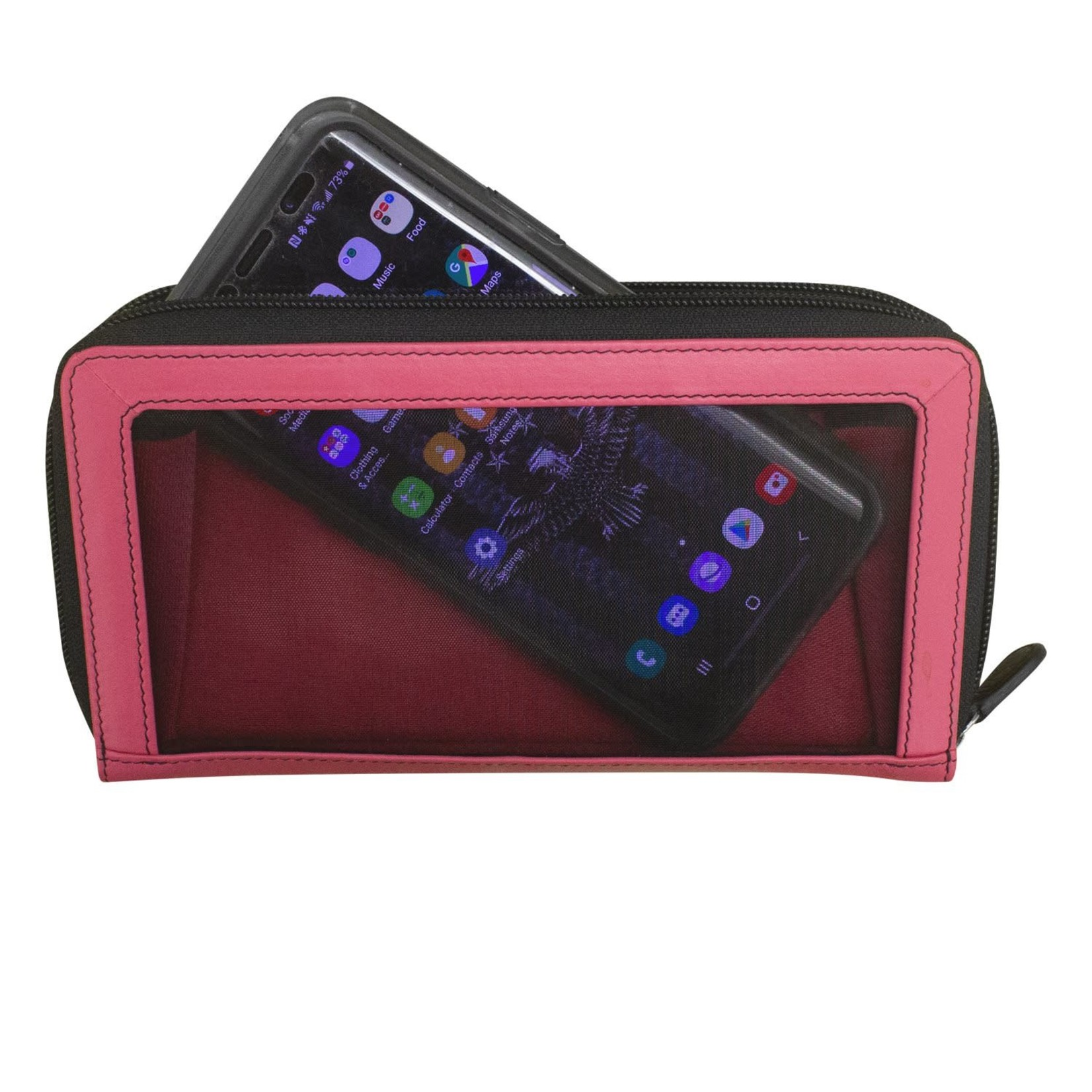 Leather Handbags and Accessories 7400 Hot Pink/Black - Zip Around Wallet w/Touch Screen