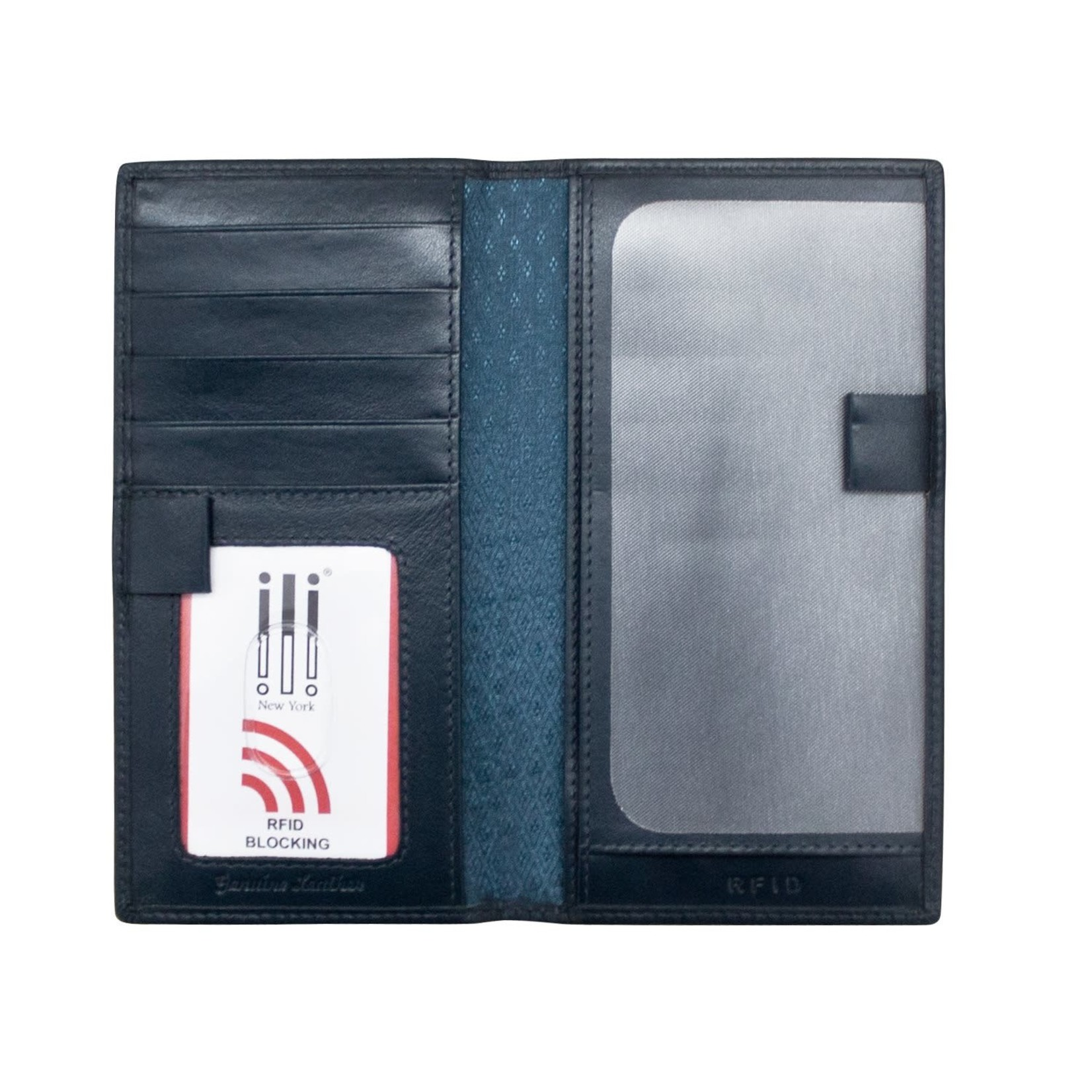 Leather Handbags and Accessories 7406 Navy - RFID Checkbook Cover