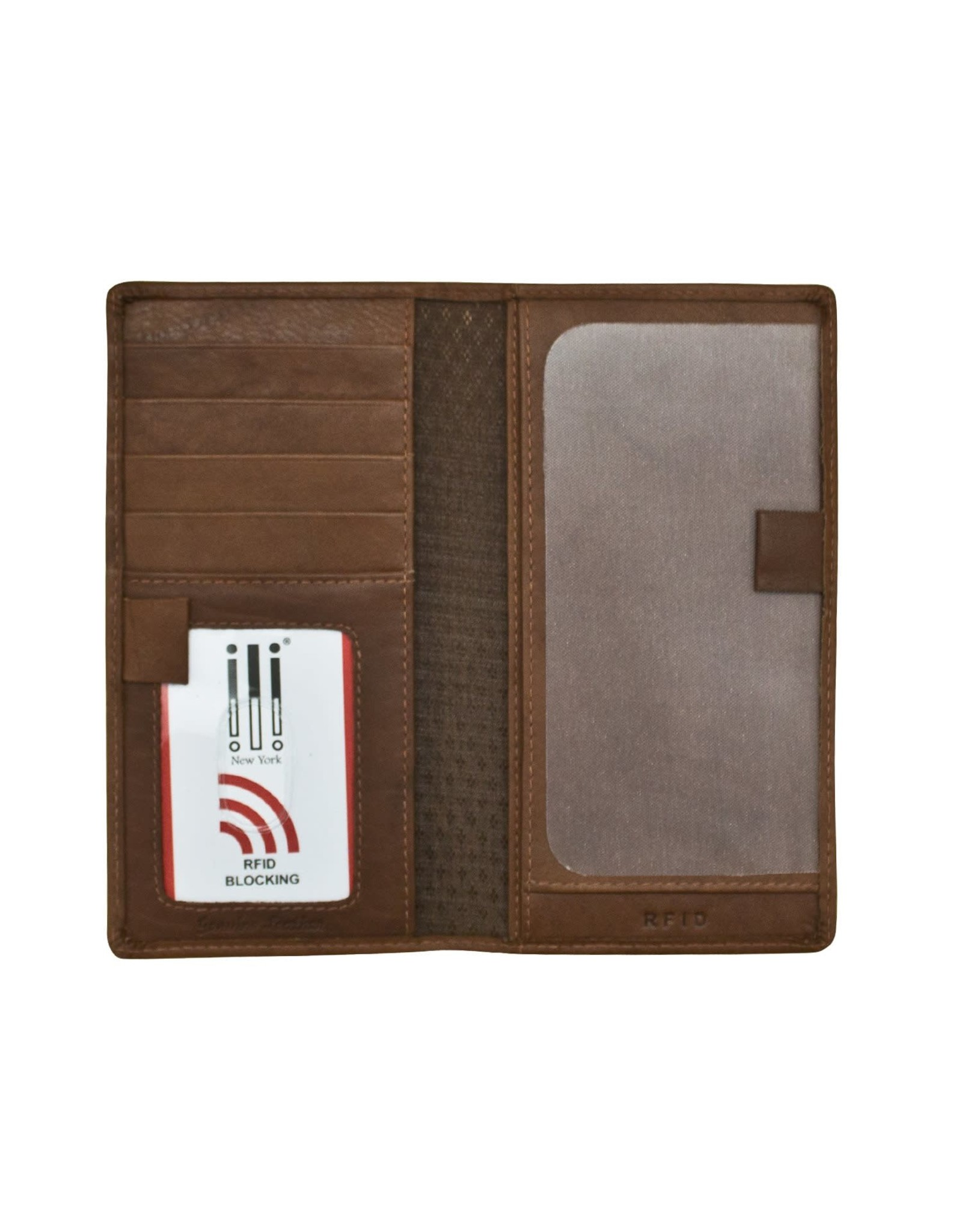 Leather Handbags and Accessories 7406 Toffee - RFID Checkbook Cover