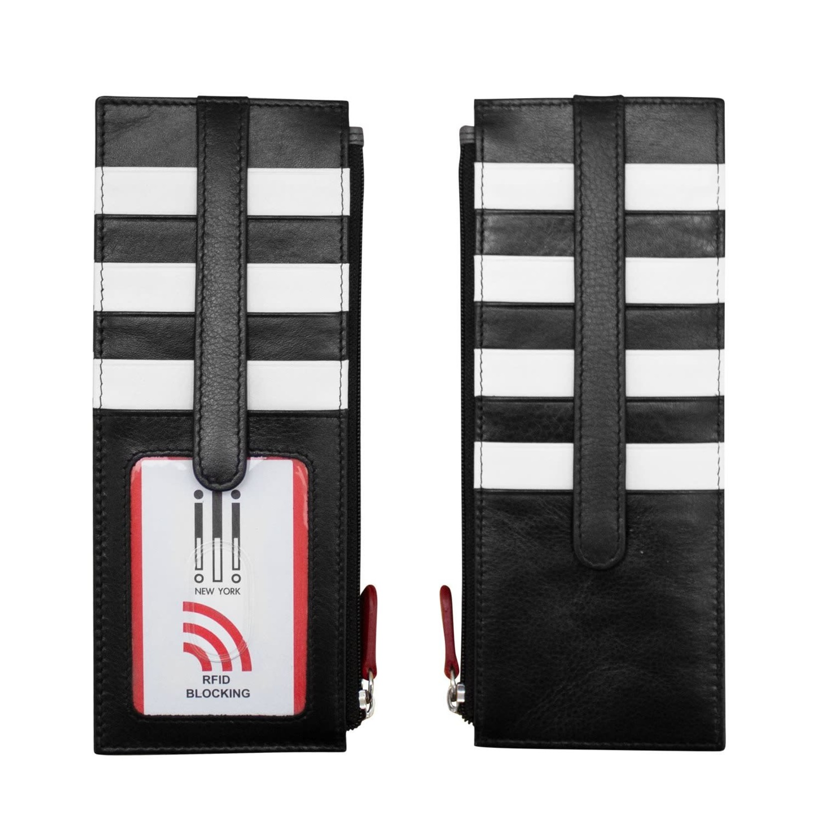 Leather Handbags and Accessories 7800 Blk/Wht/Red - RFID Card Holder